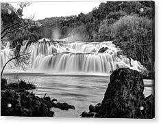 Krka Waterfalls Bw Acrylic Print