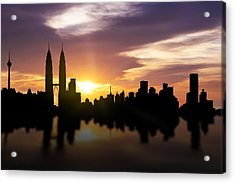 Kuala Lumpur Sunset Skyline  Acrylic Print by Aged Pixel