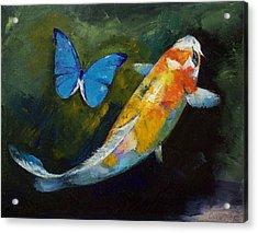 Kujaku Koi And Butterfly Acrylic Print