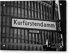 Kurfurstendamm Street Sign Berlin Germany Acrylic Print by Joe Fox
