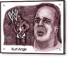 Acrylic Print featuring the mixed media Kurt Angle by Chris  DelVecchio