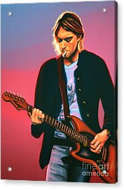 Kurt Cobain In Nirvana Painting Acrylic Print by Paul Meijering