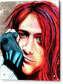 Kurt Cobain - Grungy Version Acrylic Print by Shawna Rowe