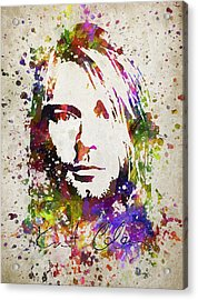 Kurt Cobain In Color Acrylic Print by Aged Pixel