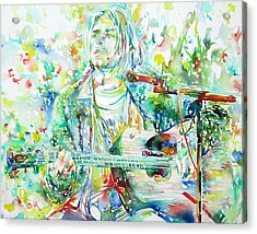 Kurt Cobain Playing The Guitar - Watercolor Portrait Acrylic Print
