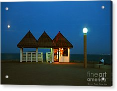 Kuwaiti Pier Snack Bar At Dusk Acrylic Print by Lawrence Costales