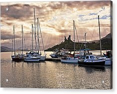Kyleakin Harbor And Castle Moil Acrylic Print by Marcia Colelli
