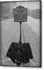 L 9 Davidson College Historical Marker Bw Acrylic Print by Paulette B Wright