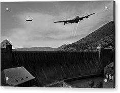 L For Leather Over The Eder Dam Black And White Version Acrylic Print