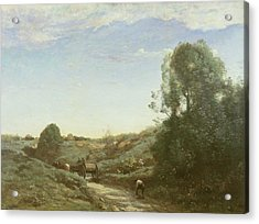 La Charette, Memory Of Marcoussis Oil On Canvas Acrylic Print by Jean Baptiste Camille Corot