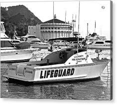 L A County Lifeguard Boat B W Acrylic Print by Jeff Gater