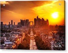 La Defense And Champs Elysees At Sunset Acrylic Print