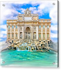 La Dolce Vita - The Trevi Fountain In Rome Acrylic Print by Mark E Tisdale