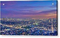 La Fiery Sunset Cityscape Skyline Acrylic Print by David Zanzinger