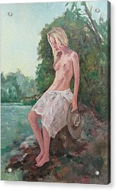 La Fille To The Pond Acrylic Print by Alain Lutz