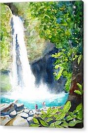 La Fortuna Waterfall Acrylic Print by Carlin Blahnik