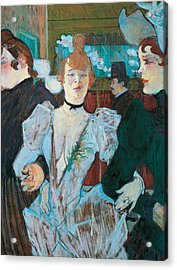 La Goulue Arriving At Moulin Rouge With Two Women Acrylic Print by Henri de Toulouse Lautrec