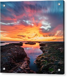 La Jolla California Reflections - Square Acrylic Print by Larry Marshall