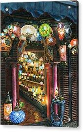 La Lamparareia En La Noche Albacin Granada Acrylic Print by Richard Harpum