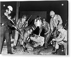 La Police Fight Black Muslims Acrylic Print by Underwood Archives