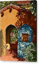 La Posada Hotel Hollyhock Garden Winslow Az Acrylic Print