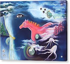 La Reverie Du Cheval Rose Or Dream Quest Of The Pink Horse. Acrylic Print