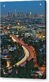 La Skyline Night Magic Hour Dusk Streaking Tail Lights Freeway Acrylic Print