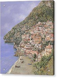 la spiaggia di Positano Acrylic Print by Guido Borelli