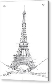 Acrylic Print featuring the drawing La Tour Eiffel Sketch by Calvin Durham