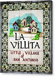 La Villita Tile Sign On The Riverwalk San Antonio Texas Watercolor Digital Art Acrylic Print
