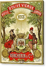Label For Vercherin Extra Virgin Olive Oil Acrylic Print by French School