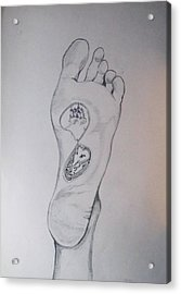 Acrylic Print featuring the drawing Labyrinth Foot Pie Laberinto by Lazaro Hurtado