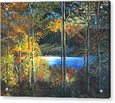 Acrylic Print featuring the painting Lac Fortune Gatineau Park Quebec by LaVonne Hand