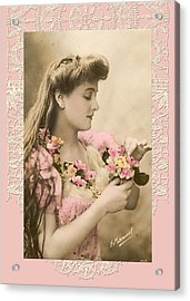 Lace And Poisies Victorian Lady Acrylic Print by Denise Beverly
