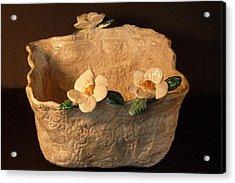 Lace Bowl Sculpture Acrylic Print by Debbie Limoli