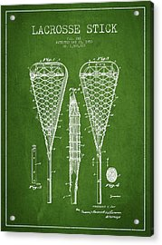Lacrosse Stick Patent From 1950- Green Acrylic Print by Aged Pixel