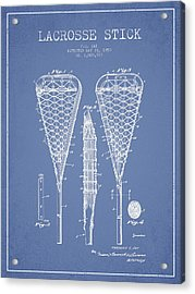 Lacrosse Stick Patent From 1950- Light Blue Acrylic Print by Aged Pixel