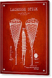 Lacrosse Stick Patent From 1950- Red Acrylic Print by Aged Pixel