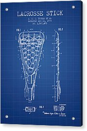 Lacrosse Stick Patent From 1970 -  Blueprint Acrylic Print by Aged Pixel
