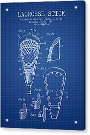 Lacrosse Stick Patent From 1977 -  Blueprint Acrylic Print by Aged Pixel
