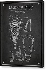 Lacrosse Stick Patent From 1977 -  Charcoal Acrylic Print