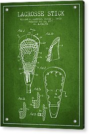 Lacrosse Stick Patent From 1977 -  Green Acrylic Print by Aged Pixel