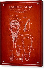 Lacrosse Stick Patent From 1977 -  Red Acrylic Print by Aged Pixel