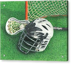Acrylic Print featuring the drawing Lacrosse by Troy Levesque