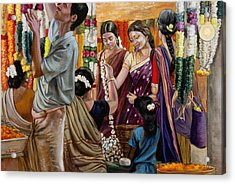 Ladies At The Flower Market In India Acrylic Print by Dominique Amendola