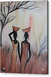 Ladies Walking In The Fields In Kenya Acrylic Print