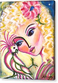 Acrylic Print featuring the painting Lady And Cockatiel by Anya Heller