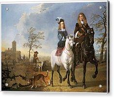 Lady And Gentleman On Horseback Acrylic Print