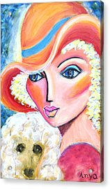 Lady And Poodle Acrylic Print