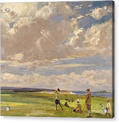 Lady Astor Playing Golf At North Berwick Acrylic Print by Sir John Lavery